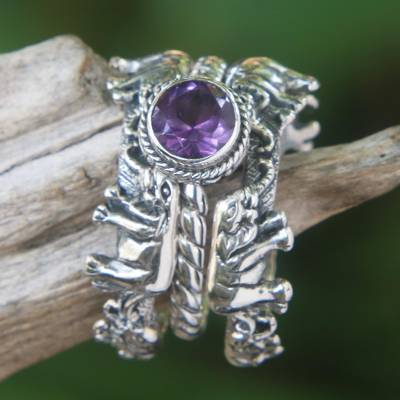 Amethyst and Silver Stacking Rings (Set of 3) Indonesia