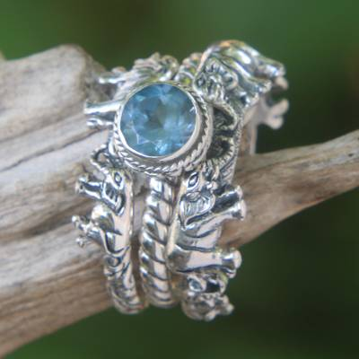 Blue topaz and sterling silver stacking rings, 'Elephant Shrine' - Blue Topaz and Silver Stacking Rings (Set of 3) Indonesia
