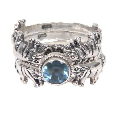 Blue Topaz and Silver Stacking Rings (Set of 3) Indonesia
