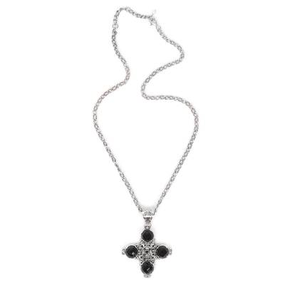 Black Onyx and Sterling Silver Cross Necklace from Bali