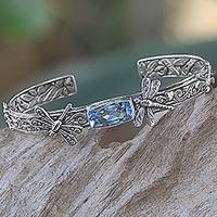 Blue topaz cuff bracelet,