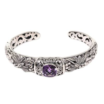Purple Dragonfly and Flower Sterling Silver Amethyst Cuff Bracelet