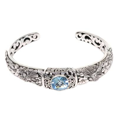 Light Blue Dragonfly and Flower Sterling Silver Blue Topaz Cuff Bracelet