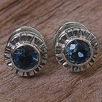 Blue topaz stud earrings,