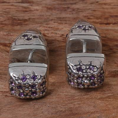 Amethyst stud earrings, 'One Thousand Hopes' - Sterling Silver Amethyst Stud Earrings Wave Indonesia