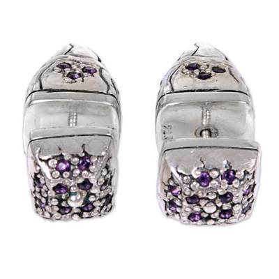 Sterling Silver Amethyst Stud Earrings Wave Indonesia