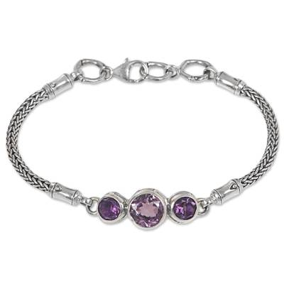 925 Sterling Silver and Amethyst Engraved Bracelet from Bali