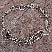 Sterling silver link bracelet, 'Kuta Ropes' - Hand Made Sterling Silver Link Bracelet from Indonesia