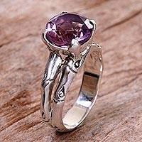 Amethyst cocktail ring, 'Bamboo Moon' - 2 Carat Amethyst Sterling Silver Ring from Indonesia