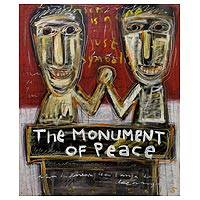 'The Monument of Peace' - Original Expressionist Painting with Political Theme
