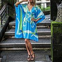 Caftan dress, 'Beach Flowers' - Hand Printed Caftan Dress Floral Motifs from Indonesia