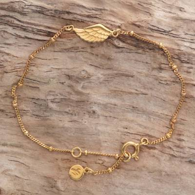 Gold plated sterling silver pendant bracelet, 'Golden Wing' - Gold Plated Sterling Silver Pendant Bracelet Wing Indonesia