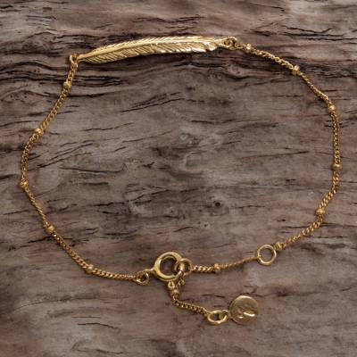 Gold plated sterling silver pendant bracelet, 'Gold Feather' - Gold Plated Sterling Silver Pendant Bracelet from Indonesia