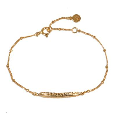 Delicate 14K Gold Plated Sterling Silver Feather Pendant Bracelet