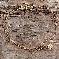 Gold plated sterling silver link bracelet,