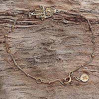 Gold plated sterling silver link bracelet,