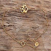 Gold Plated Sterling Silver Pendant Bracelet Gold Om (indonesia)