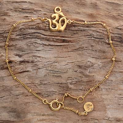 Gold plated sterling silver pendant bracelet, Gold Om