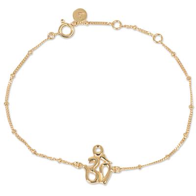 Gold Plated Sterling Silver Pendant Bracelet Om Indonesia