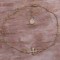 Gold Plated Sterling Silver Pendant Bracelet Gold Cross (indonesia)