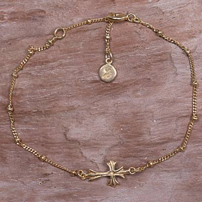Gold plated sterling silver pendant bracelet, 'Gold Cross' - Hancrafted 14k Gold Vermeil Balinese Cross Them Bracelet