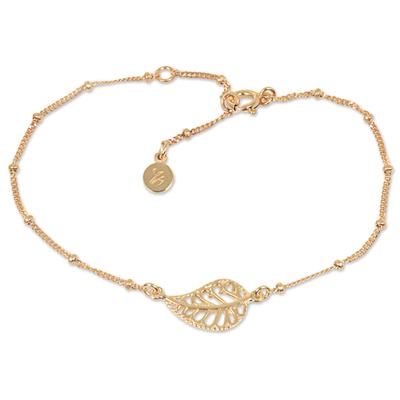 14k Gold Vermeil HandcraftedBali Leaf Silhouette Bracelet