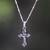 Sterling silver necklace, 'Christ on the Cross' - Highly Polished Sterling Silver Crucifix on Cuban Chain thumbail