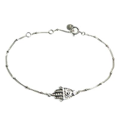 Handmade Sterling Silver Hamsa Hand Bracelet from Indonesia