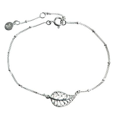 Handmade Indonesian Sterling Silver Pendant Leaf Bracelet