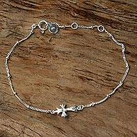 Sterling silver pendant bracelet, 'Simple Cross' - Handmade Sterling Silver Cross Bracelet from Indonesia