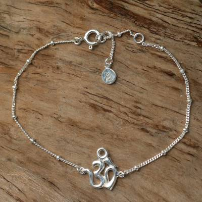 Sterling silver pendant bracelet, Centered Om