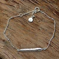Sterling silver pendant bracelet- 'Holy Feather' (Indonesia)