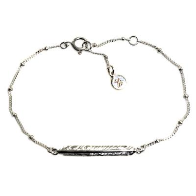 Handmade Indonesian Sterling Silver Pendant Feather Bracelet