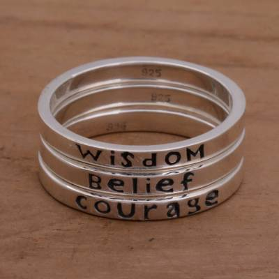 Sterling silver stacking rings, Wisdom Belief Courage (set of 3)
