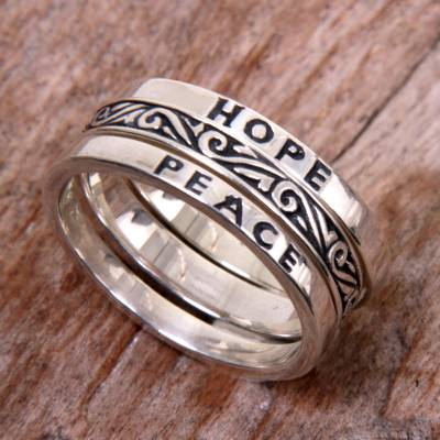 Sterling silver stacking rings, 'Hope for Peace' (set of 3) - 3 Sterling Silver Hope and Peace Stacking Rings Bali