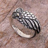 Sterling silver cocktail ring, 'Perky Night Owl' - Handcrafted Balinese Sterling Silver Owl Ring