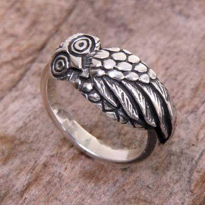 best online wedding ring retailers - Handcrafted Balinese Sterling Silver Owl Ring