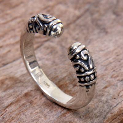 Sterling silver wrap ring, 'Twin Buds' - Hand Made Sterling Silver Wrap Ring from Indonesia