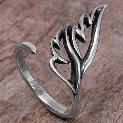 Balinese Artisan Jewelry Leafy Sterling Silver Wrap Ring