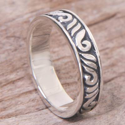 sterling silver anklets - Indonesian 925 Sterling Silver Band Ring with Leaf Motifs