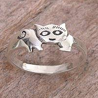 Sterling silver band ring, 'Cute Cat' - Sterling Silver Cat Themed Ring Handcrafted in Indonesia
