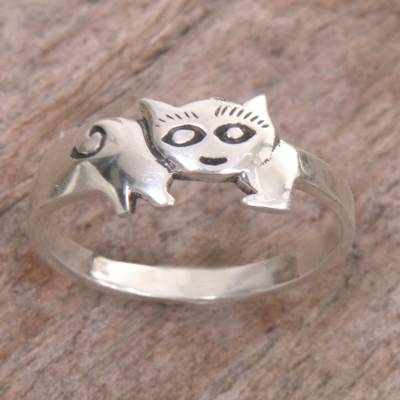 rings end lumber niantic ct - Sterling Silver Cat Themed Ring Handcrafted in Indonesia