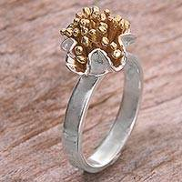 Sterling silver gold accent cocktail ring, 'Kuta Coral' - Sterling Silver Gold Accent Cocktail Ring from Indonesia