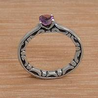 Amethyst solitaire ring, 'Purple Wave' - Hand Made Amethyst Silver Solitaire Ring from Indonesia
