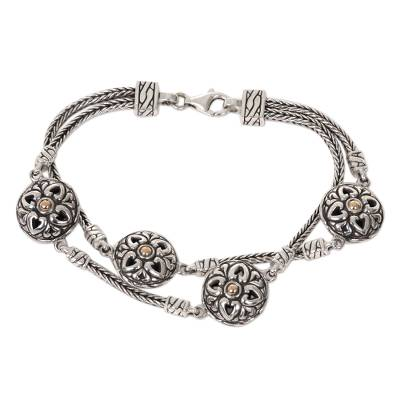 Sterling Silver Gold Accent Link Bracelet from Indonesia