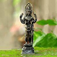 Bronze statuette, 'The Protector' - Wisnu Bronze Statuette Handmade in Indonesia