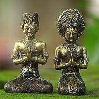 Bronze sculptures, 'Balinese Wedding Ceremony' (pair) - Set of 2 Balinese Bride and Groom Sculptures in Bronze