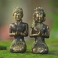 Bronze statuettes, 'Java Loro Blonyo' (pair) - Bronze Traditional Javanese Bridegroom Statuettes (Pair)
