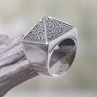Sterling silver cocktail ring, 'Pyramid Texture' - Sterling Silver Pyramid-Shaped Cocktail Ring from Bali