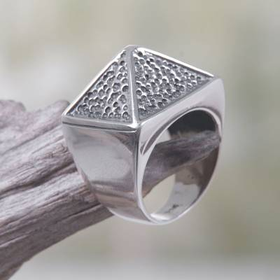 Titanium jewelry - Sterling Silver Pyramid-Shaped Cocktail Ring from Bali